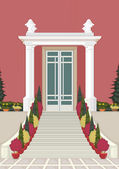 Detailed illustration of entrance of the house