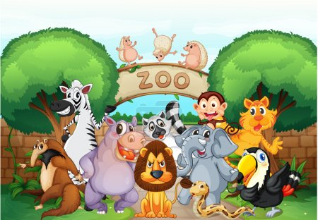 Illustration for Illustration of zoo and animals in a beautiful nature - Royalty Free Image