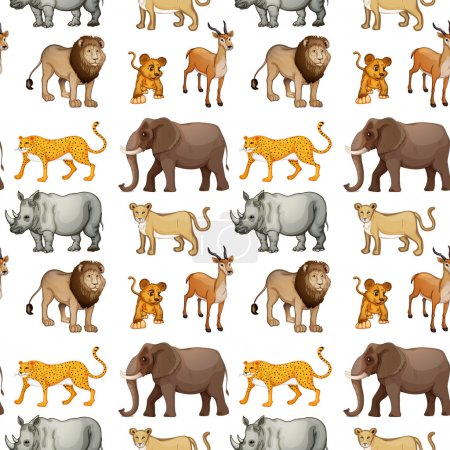 Illustration of various animals on a white backgro...