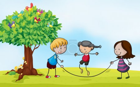 Illustration for Illustration of a park scene with kids skipping - Royalty Free Image