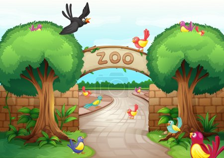Illustration for Illustration of a zoo scene - Royalty Free Image