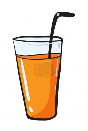 Illustration pour Illustration de verre adn paille sur fond blanc - image libre de droit