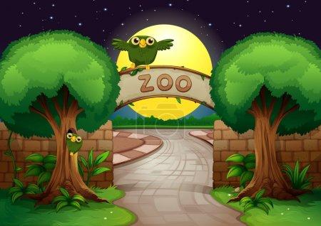 Illustration pour Illustration d'un zoo et d'un hibou dans une belle nature - image libre de droit