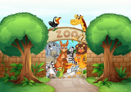 Illustration for Illustration of a zoo and animals in a beautiful nature - Royalty Free Image