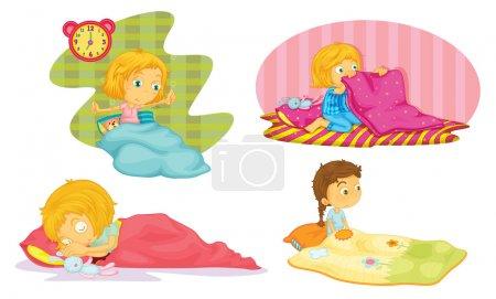 Illustration pour Illustration des filles sur fond blanc - image libre de droit