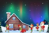 Santa clause, kids and reindeer