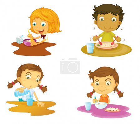 four kids having food