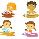 Illustration of four kids having food on white bac...