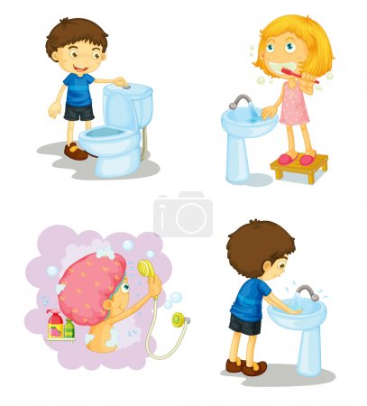 Illustration for Illustration of kids and bathroom accessories on a white background - Royalty Free Image