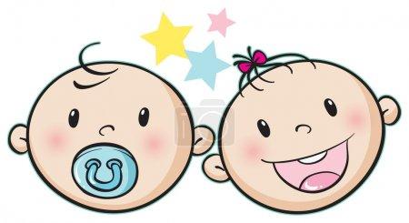Illustration pour Illustration d'un visage de bébé sur fond blanc - image libre de droit