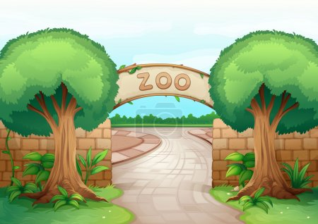 Illustration for Illustration of a zoo in a beautiful nature - Royalty Free Image