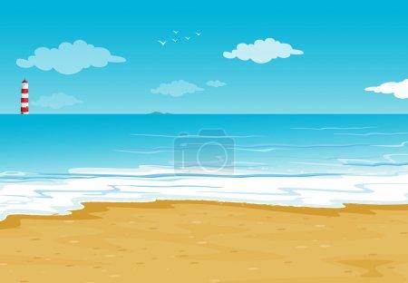 Illustration pour Illustration d'un océan et d'un phare dans une belle nature - image libre de droit