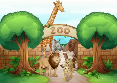 Illustration for Illustration of a zoo and the animals in a beautiful nature - Royalty Free Image
