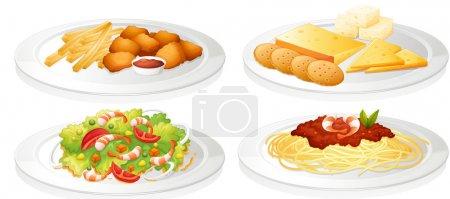 Illustration pour Illustration d'un divers aliments sur fond blanc - image libre de droit