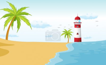 Illustration for Illustration of a light house in a beautiful nature - Royalty Free Image