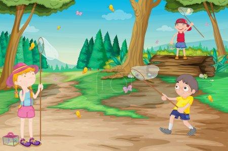 Illustration pour Illustration d'enfants jouant en plein air dans la jungle - image libre de droit