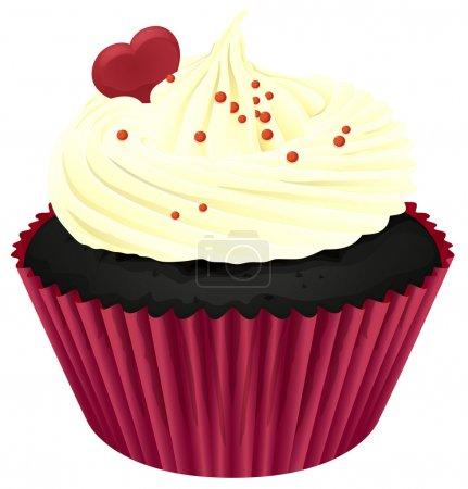 Illustration pour Illustration d'un cupcake isolé sur un blanc - image libre de droit
