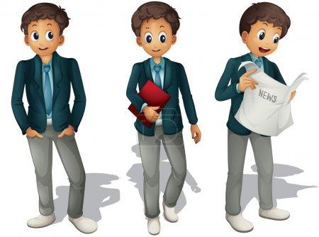 Illustration of three boys on a white background...