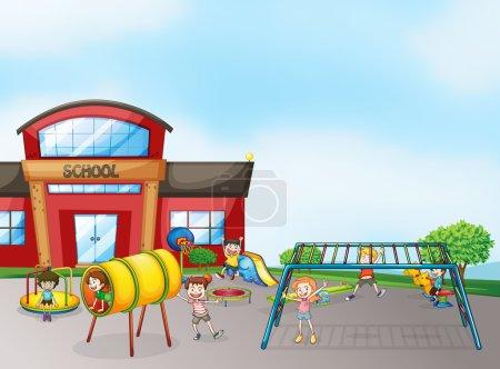 Illustration pour Illustration des enfants jouant au jeu dans une belle nature - image libre de droit