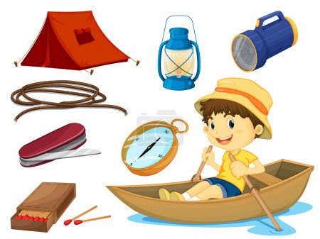 Illustration for Illustration of a boy and various objects of camping on a white background - Royalty Free Image