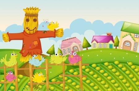 Illustration pour Illustration d'une ferme dans une belle nature - image libre de droit