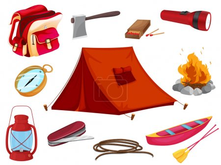 Illustration for Illustration of various objects of camping on a white background - Royalty Free Image