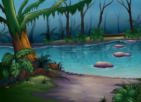 Illustration pour Illustration d'une rivière dans une belle nature - image libre de droit