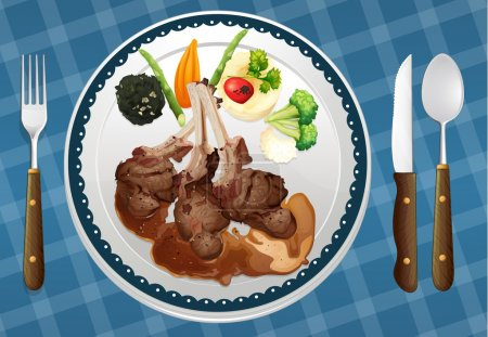 Illustration pour Illustration d'un aliment et d'un plat sur un napperon bleu - image libre de droit
