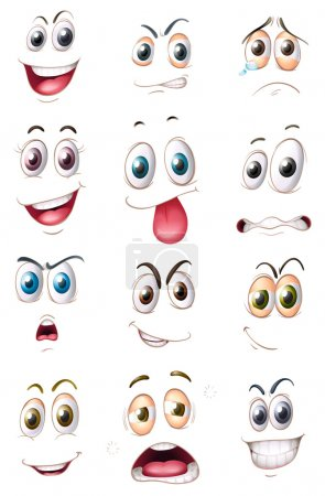 Illustration for Illustration of faces on a white background - Royalty Free Image