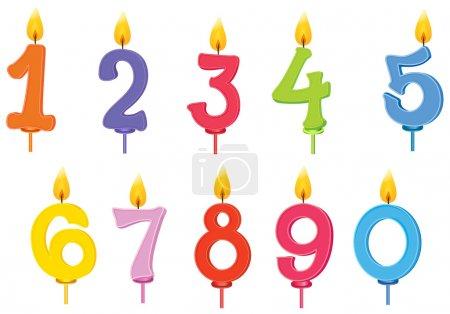 Ilustración de Ilustración de velas de cumpleaños en un fondo blanco - Imagen libre de derechos