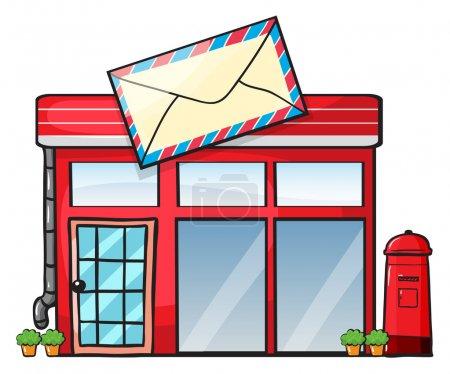 Illustration pour Illustration d'un bureau de poste sur fond blanc - image libre de droit