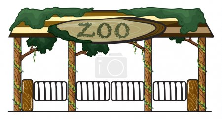 Illustration for Illustration of a zoo entrance on a white background - Royalty Free Image