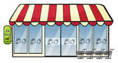 Illustration of a store on a white background