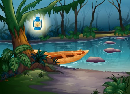 Illustration for Illustration of a canoe in a mysterious forest - Royalty Free Image