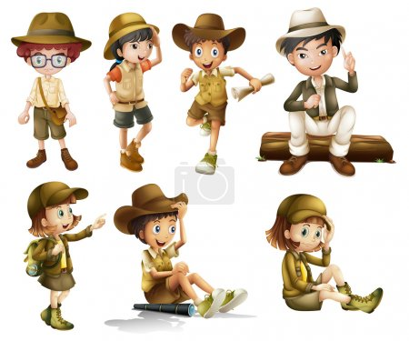 Illustration for Illustration of boys and girls in safari costume on a white background - Royalty Free Image