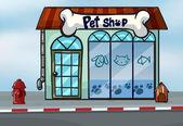 Illustration of a pet shop near a street