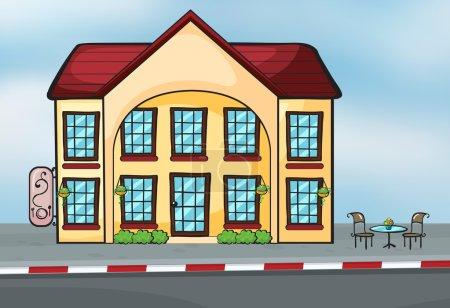 Illustration pour Illustration d'une grande maison près d'une rue - image libre de droit