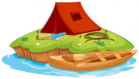 Illustration for Illustration of vaious objects for camping on an island and a canoe - Royalty Free Image