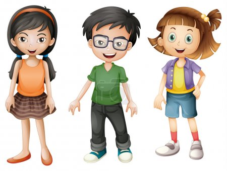 Illustration for Illustration of a boy and girls on a white background - Royalty Free Image