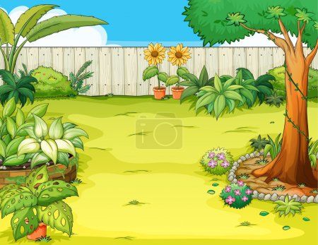 Illustration for Illustration of a beautiful garden and various plants - Royalty Free Image