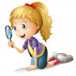 Illustration of a girl and a magnifier on a white ...