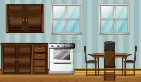 Illustration for Illustration of a wooden furniture in a room - Royalty Free Image