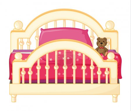 Illustration for Illustration of a bed of a child on a white background - Royalty Free Image