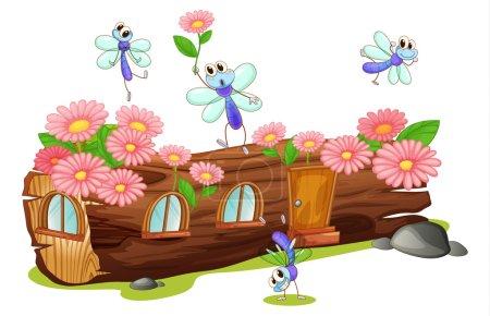 Illustration pour Illustration de mouches et d'une maison en bois sur fond blanc - image libre de droit