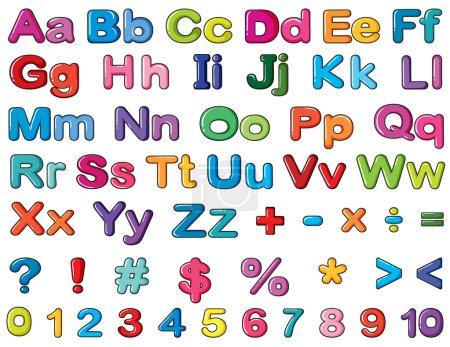 Illustration pour Illustration des alphabets et des chiffres sur un fond blanc - image libre de droit