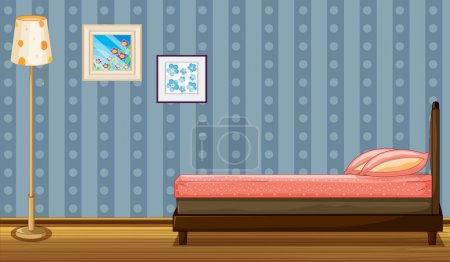 Illustration for Illustration of a bed and a lamp in a room - Royalty Free Image