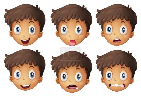 Illustration for Illustration of a face of a boy on a white background - Royalty Free Image