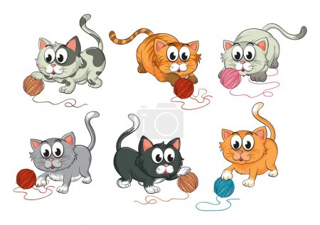 Cats playing with wool
