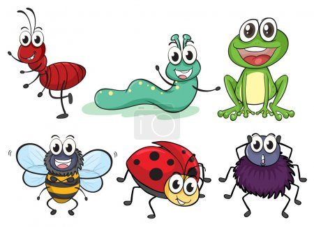 Illustration pour Illustration de divers insectes et animaux sur fond blanc - image libre de droit