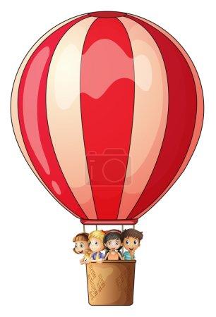 Illustration pour Illustration d'un ballon à air bande battant avec les enfants sur un fond blanc - image libre de droit